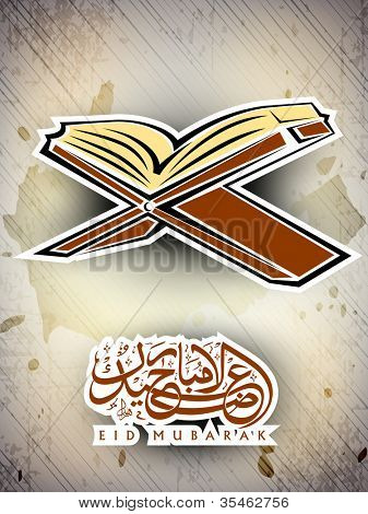 Open side of Holy Quran book on wood stand with Arabic Islamic text Eid Mubarak text. EPS 10, can be use as label or sticker.