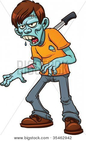 Stabbed cartoon zombie. Vector illustration with simple gradients. All in a single layer.