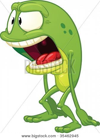 Cartoon surprised frog. Vector illustration with simple gradients. All in a single layer.