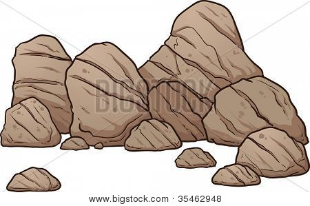 A pile of boulders,rocks and pebbles. Vector illustration with simple gradients. All in a single layer.