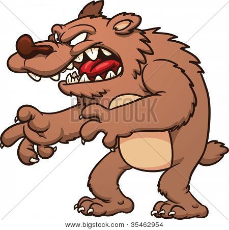 Angry cartoon bear roaring. Vector illustration with simple gradients. All in a single layer.