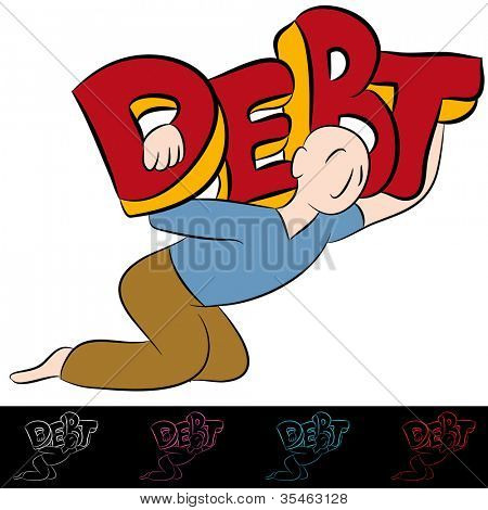 An image of a carrying a heavy debt.