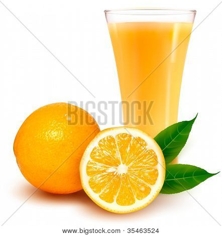 Fresh orange and glass with juice.  Vector illustration.