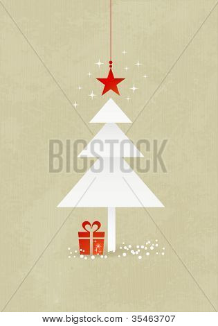 Grunge Christmas background with minimalistic Christmas tree made from 3 paper triangles. A red star at the top and present at the bottom of the tree.