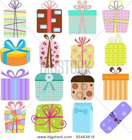 A set of simple and cute vector Icons : Gift Boxes (present), pastel colors on white background