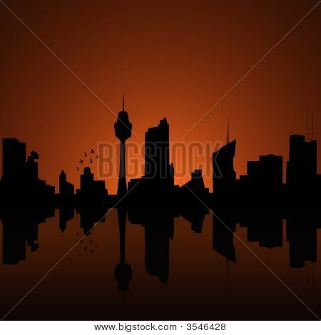 City Silhouette At Dusk