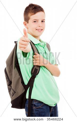 Happy school boy giving thumbs up, isolated on white background
