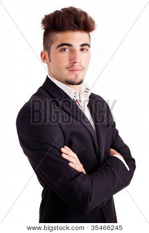Successful young business man portrait, isolated on white