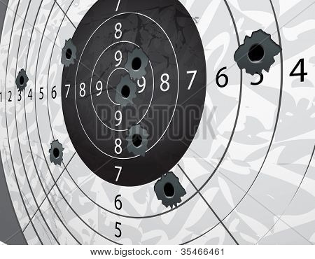 Gun bullet holes on paper target in perspective
