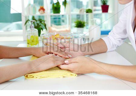 Professional manicurist examining female hands
