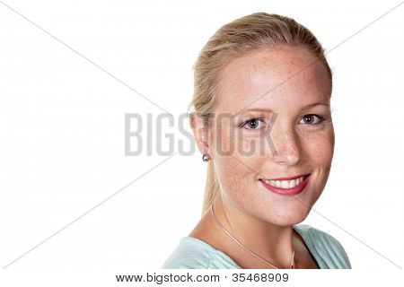 the portrait of a young woman. isolated against a white background