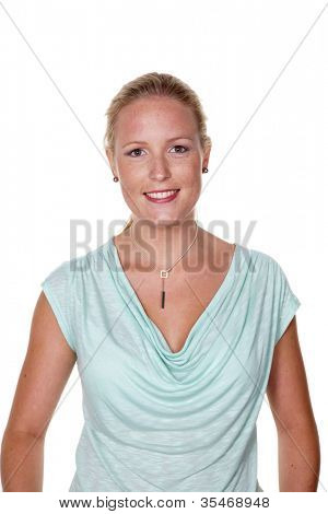 a young woman in jeans standing in front of a white background