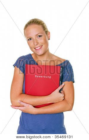 a young woman comes up with a job application in her hand on her job interview. isolated white background
