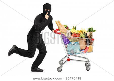 Robber stealing a pushcart with products, isolated on white background