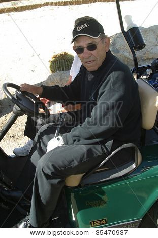 PALM SPRINGS - FEB 7: Yogi Berra at the 15th Frank Sinatra Celebrity Invitational Golf Tournament at Desert Willow Golf Course on February 7, 2003 in Palm Springs, California