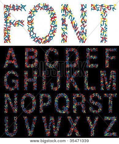 alfabeto de desenho vetorial de mão original