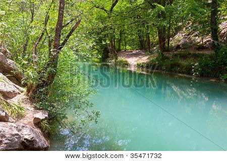 nice river with emerald water in deep forest