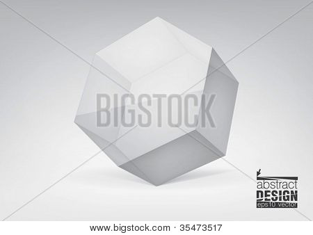 Vector transparent hexagonal prism for your graphic design, you can change colors