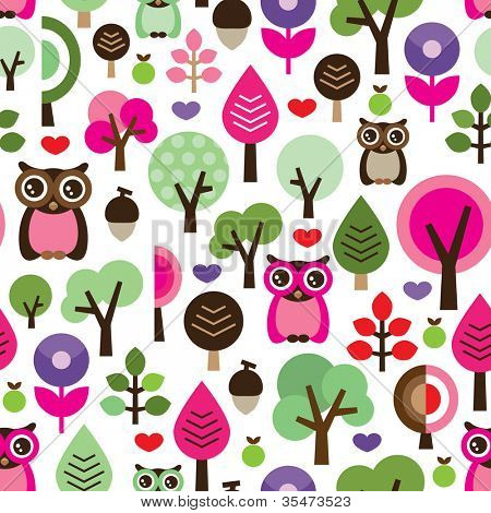 Seamless pink leaf tree retro owl pattern for girls in vector