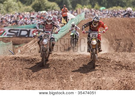 SEMIGORJE, RUSSIA - JULY 22: Unidentified riders at Grand Prix of Russia of FIM Motocross World Championship MX1 and MX2 Series on July 22, 2012 in Semigorje, Russia