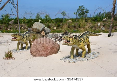 Ornithosuchus (bird crocodile), classification - thecodont, length - 4m, weight - 200 kG. Model of dinosaur in Jurassic park in Leba, Poland.