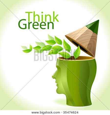 Think Green - Pencil Man
