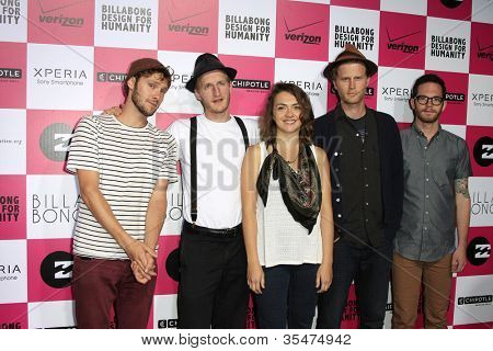 LOS ANGELES - JULY 25: The Lumineers at Billabong's 6th Annual Design For Humanity Event at Paramount Studios on July 25, 2012 in Los Angeles, California
