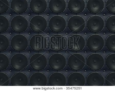 Loud Sound Wall: Black Speakers Over Leather Pattern
