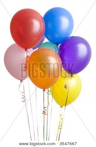 Group Of Ballons On White
