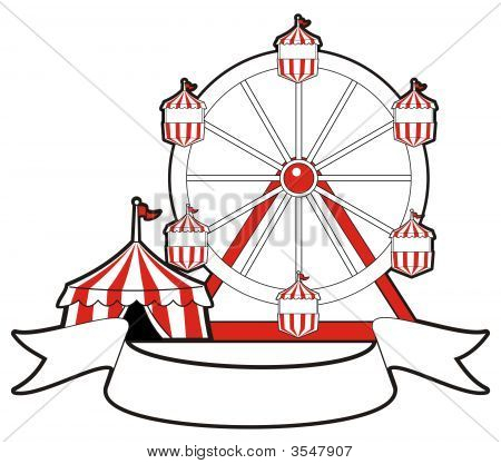 Circus Tent Ferris Wheel And Banner