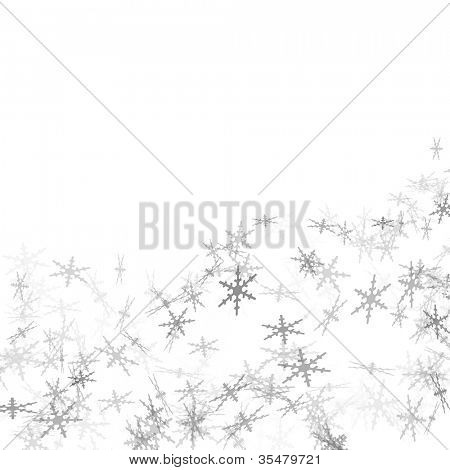 grey snowflakes drawn on a white background