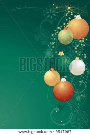Green And Gold Christmas Balls
