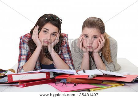 Young women sick of studying