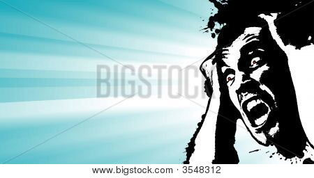Screaming Man Grunge Glowing Banner