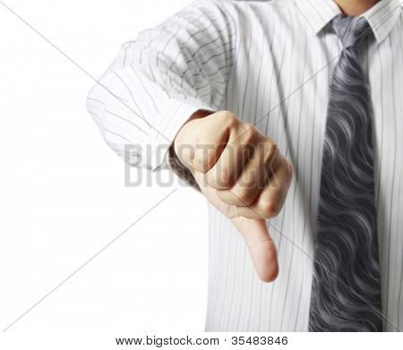 Businessman hand showing thumb down