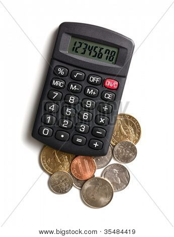 calculator and american currency on white background