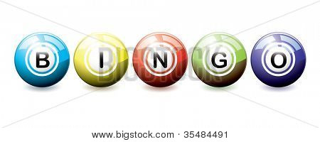 Brightly coloured bingo balls with light reflection