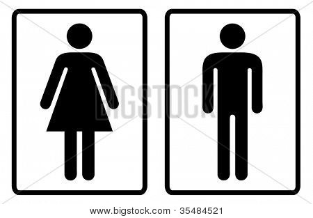 Simple black and white male and female toilet symbols