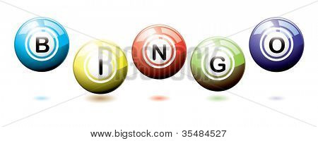 Set of brightly coloured bingo balls bouncing on a white background with shadows