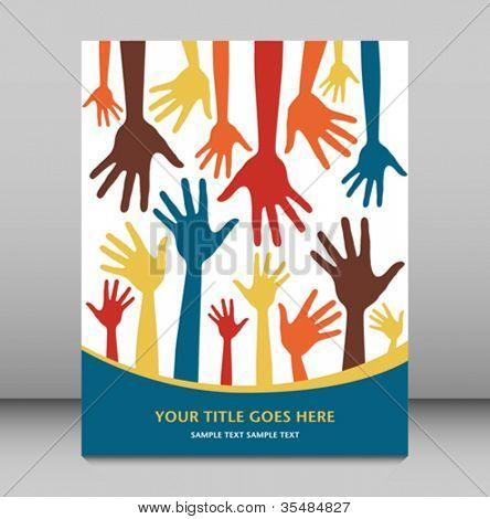 Hand pattern leaflet design.