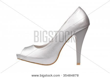Silver women's heel shoe isolated over white with clipping path.