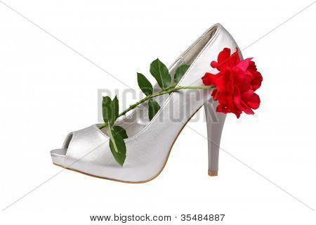 Silver women's heel shoe with red rose isolated over white with clipping path.