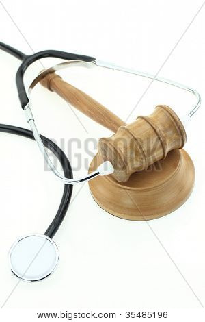 Judge'gavel with stethoscope