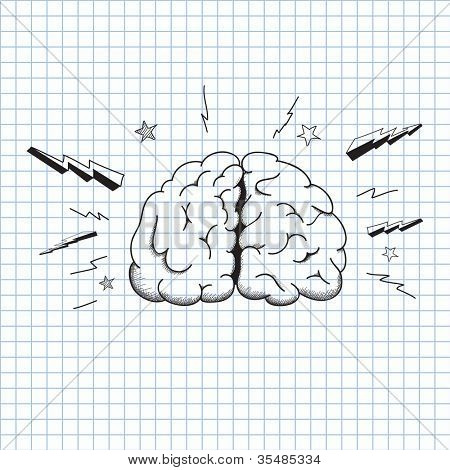 vector illustration picture of the brain on a sheet of paper