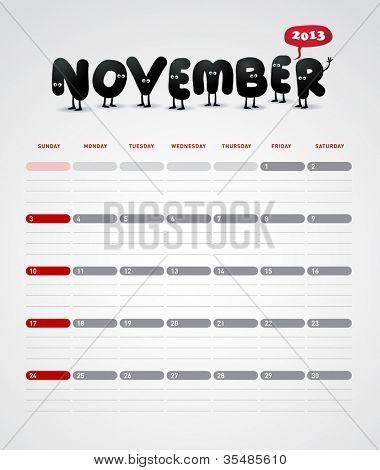 Funny year 2013 vector calendar November