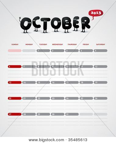 Funny year 2013 vector calendar October