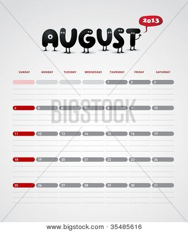 Funny year 2013 vector calendar August