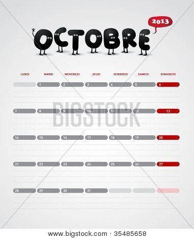 Funny year 2013 vector calendar October -  In French.