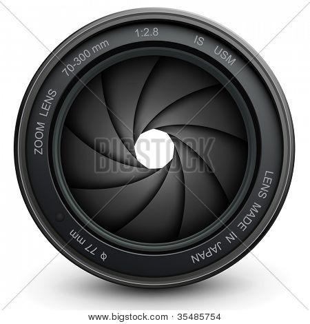 obturador de la lente de la cámara, Ilustración del vector.