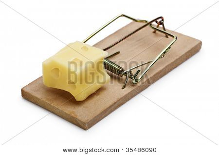 Mousetrap baited with cheese concept for risk, incentive and temptation